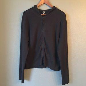 Eileen Fisher Jacket Hoodie Zip Up Sz Large Black